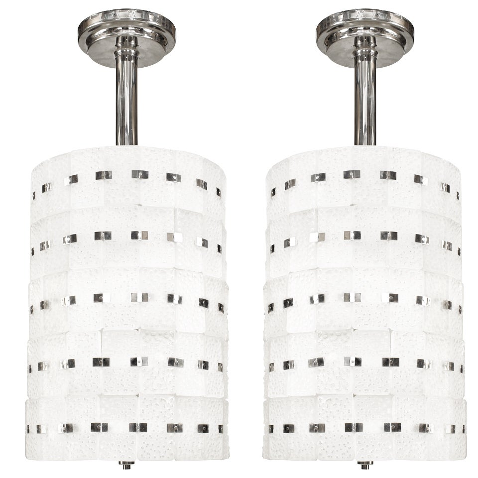 2 Sabino French Art Deco Frosted Glass Chandeliers