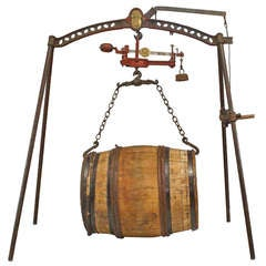 19th C. French Provincial Wine Barrel Scale