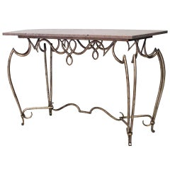 1940's Scroll Form Gold Painted And Marble Center Table