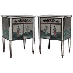 Pair of 1940's Mirrored Chinoiserie Bedside Commodes