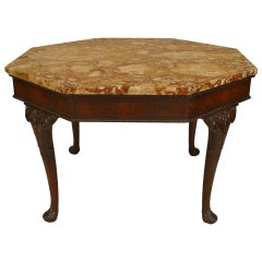 19th c. Georgian Mahogany And Marble Octagonal Center Table