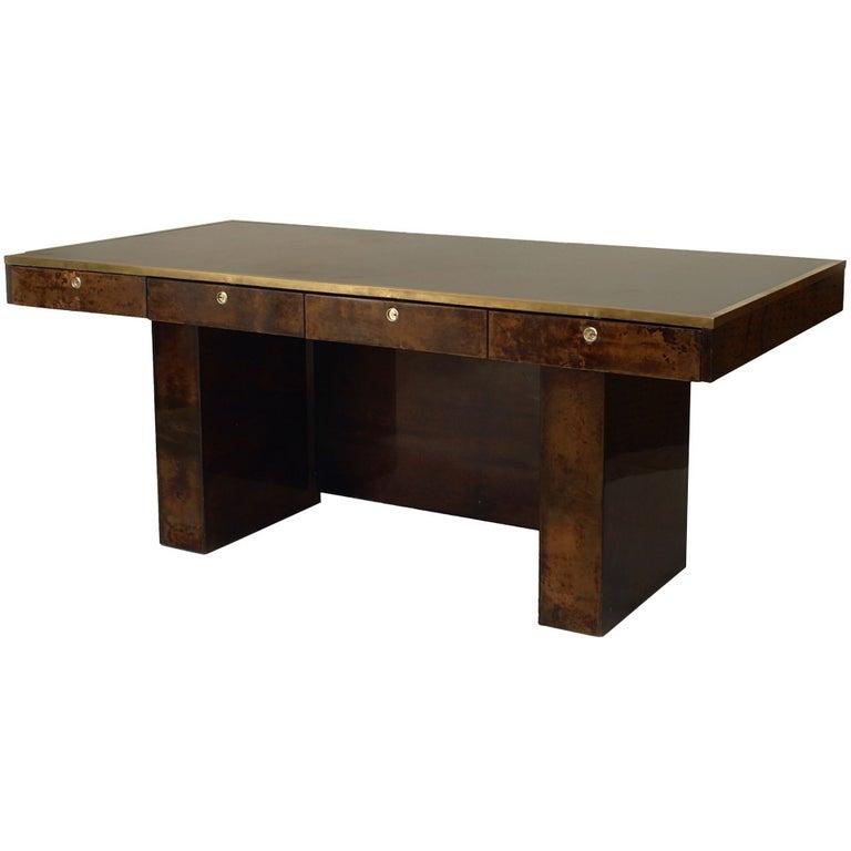 Aldo Tura Parchment Veneered Desk With Vanity Panel For Sale
