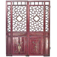 Pair of 19th Century Chinese Red Lacquer and Gilt Doors