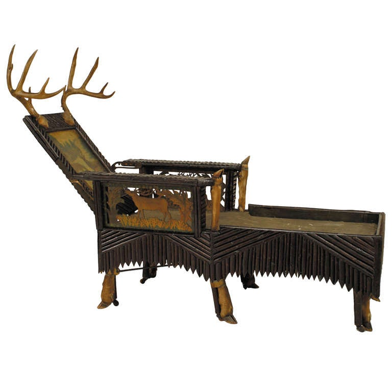 Unique 19th c carved and painted horn mounted adirondack for Carved chaise lounge