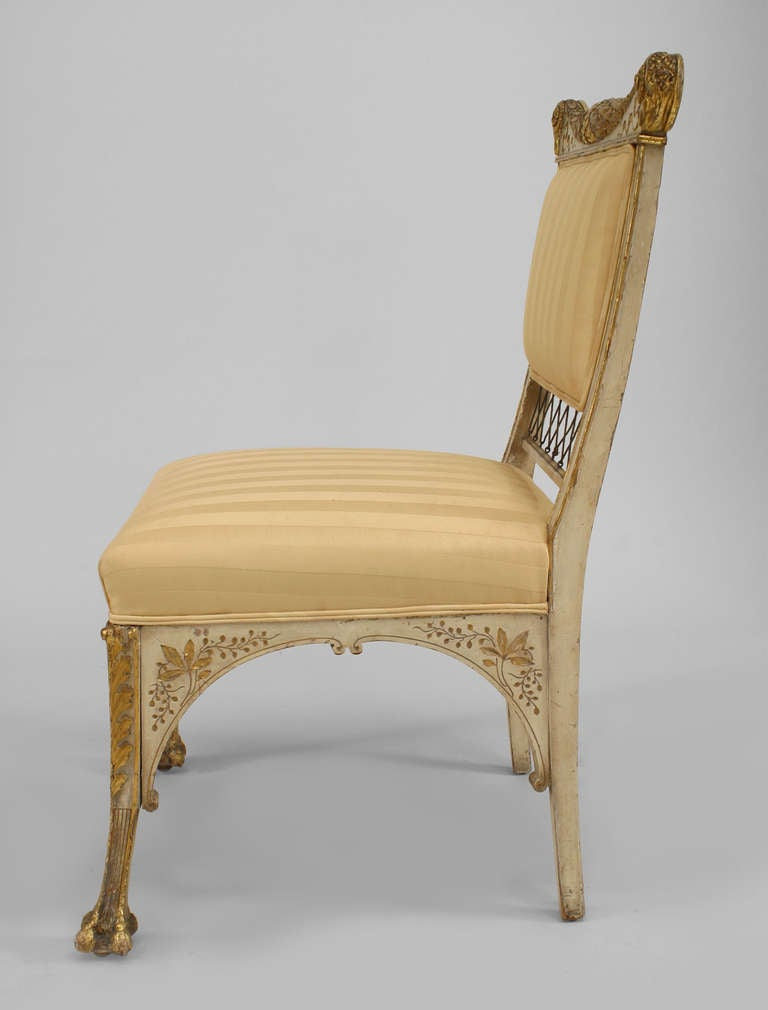 Pair Of Herter Bros Gilded And Upholstered Side Chairs At