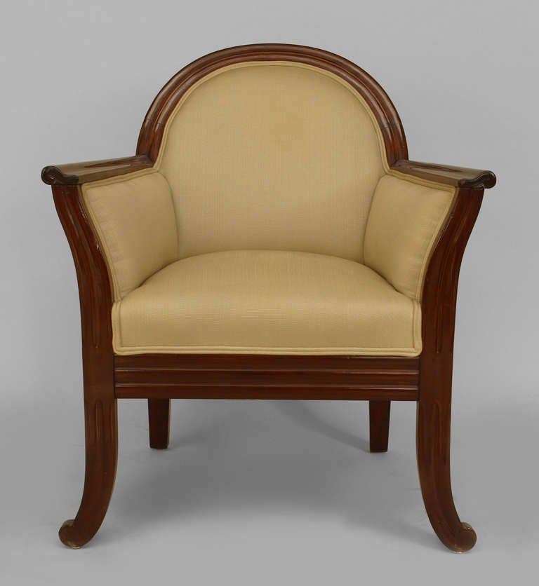 Pair of upholstered mahogany art deco club chairs for sale at 1stdibs - Club deco ...