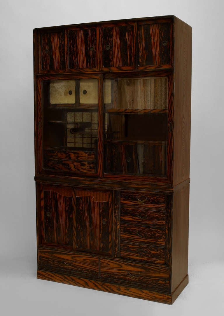 asian persimmon and keyaki wood etag re cabinet for sale at 1stdibs. Black Bedroom Furniture Sets. Home Design Ideas