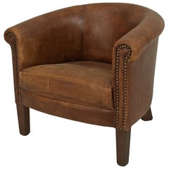 English Georgian Style Leather Round-Back Child's Club Chair