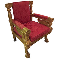 English Regency Gilt Carved Armchair by Morel & Hughes