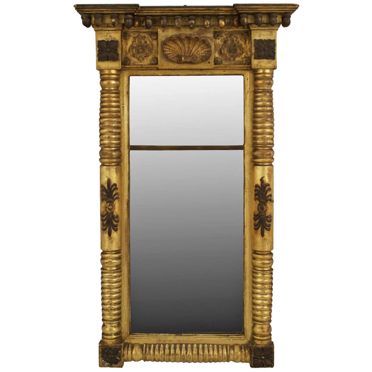 19th Century American Empire Ebonized and Giltwood Pier Mirror