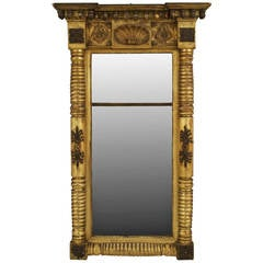 19th Century American Empire Ebonized and Giltwood Pier Mirror