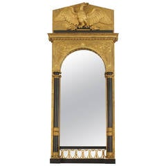 Continental Swedish Empire Architectural Gilt Wall Mirror
