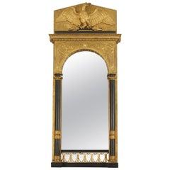 Continental Swedish Empire Architectural Gilt Wall Mirror