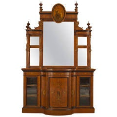 19th Century English Edwardian Mirrored Inlaid Satinwood Breakfront Cabinet