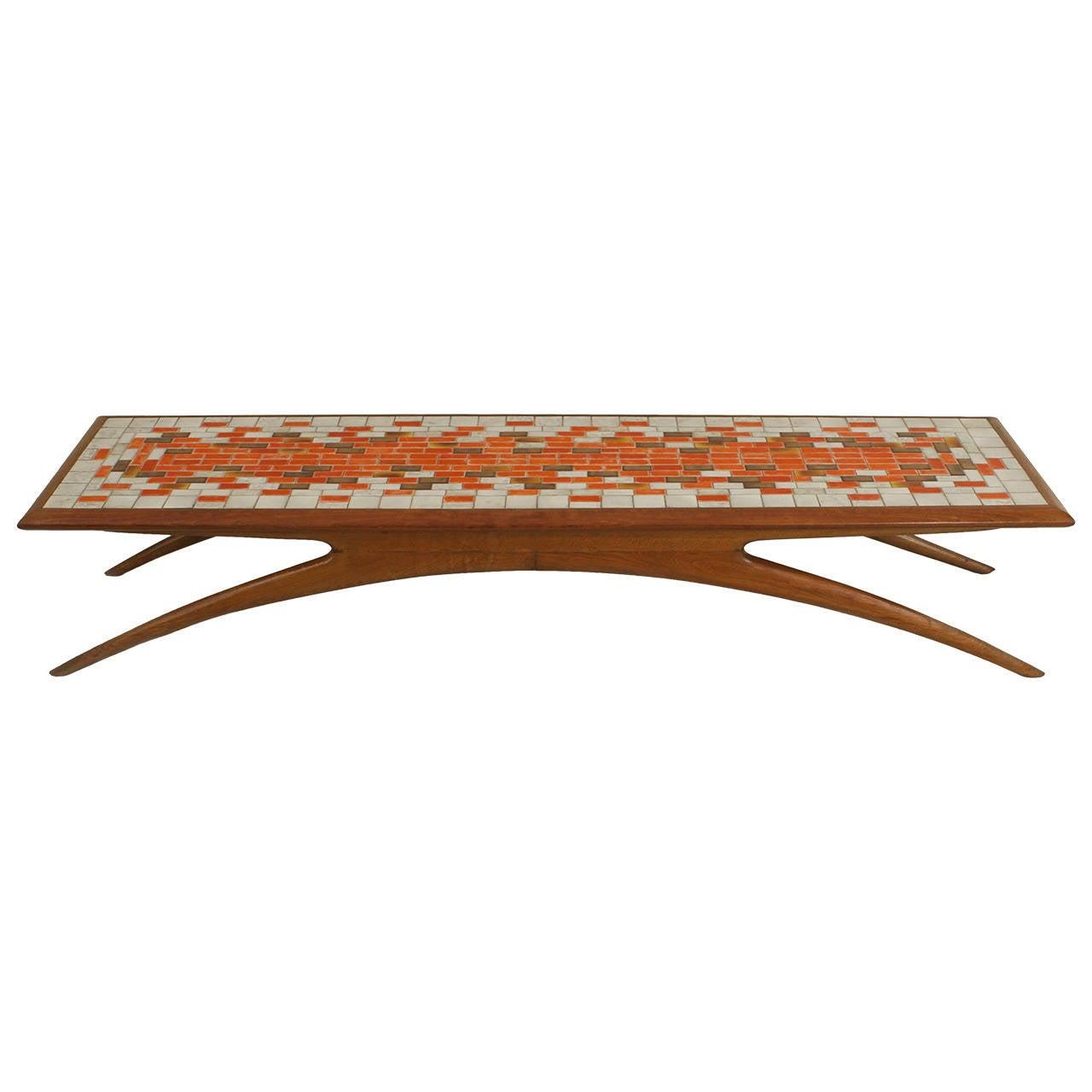 American Mosaic Top Fruitwood Coffee Table By Vladimir