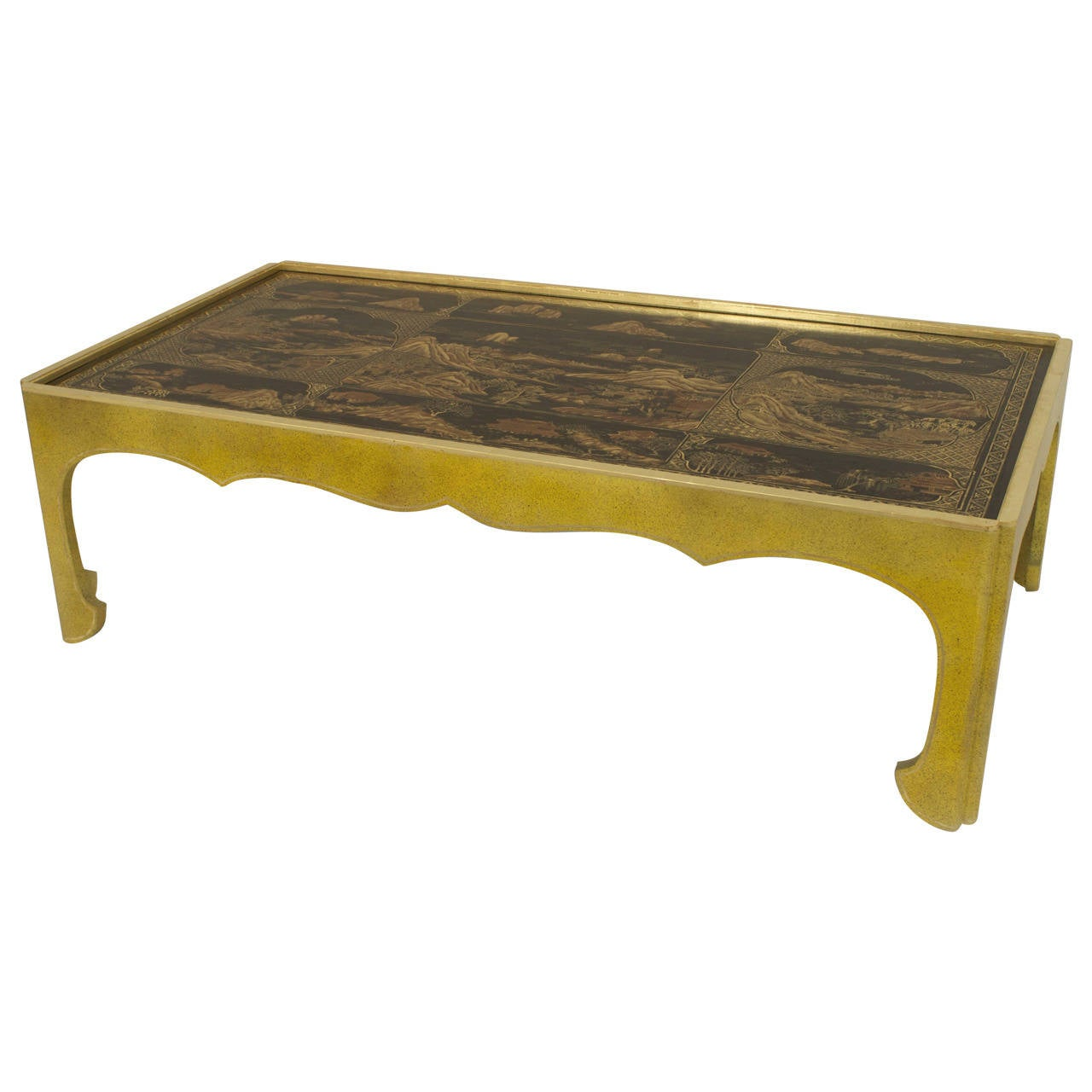 Modern Parcel-Gilt Celadon Coffee Table with Inset Chinoiserie Lacquer Top