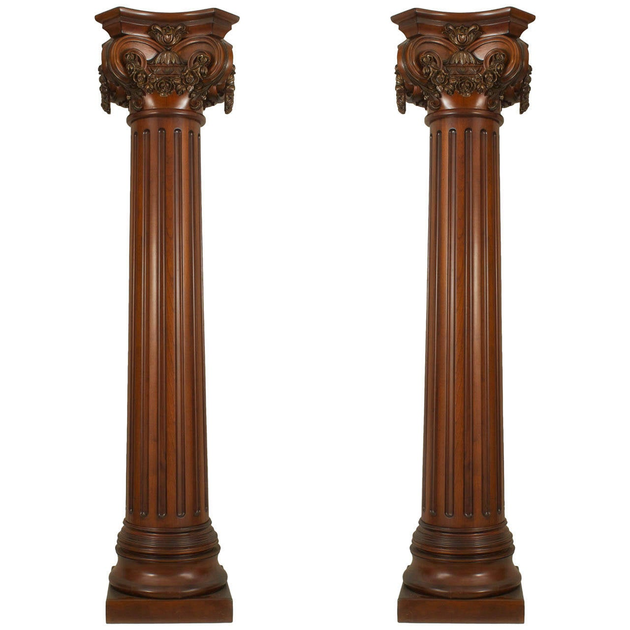 Columns For Sale >> English Georgian Style Fluted Mahogany Columns For Sale At 1stdibs
