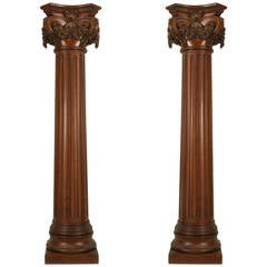 English Georgian Style Fluted Mahogany Columns