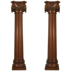 English Georgian Style Fluted Mahogany Columns
