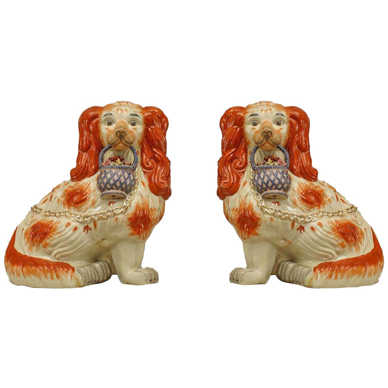 Pair of Early 20th Century English Staffordshire Spaniel Sculptures For Sale