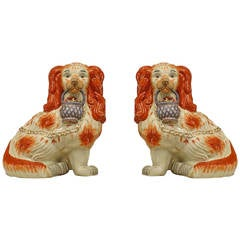 Pair of Early 20th Century English Staffordshire Spaniel Sculptures