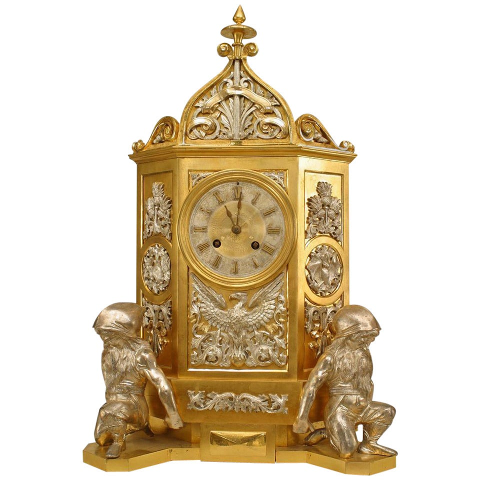 19th Century English Gothic Revival Gilt Mantle Clock