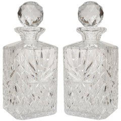Pair of Turn-of-the-Century French Square Cut Crystal Decanters