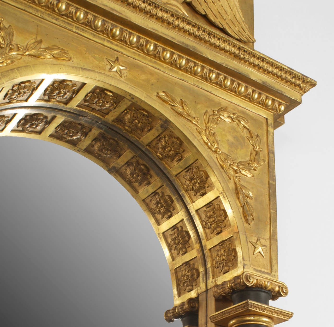 Arched gilt mirror at 1stdibs - Continental Swedish Empire Architectural Gilt Wall Mirror With Eagle Pediment 2