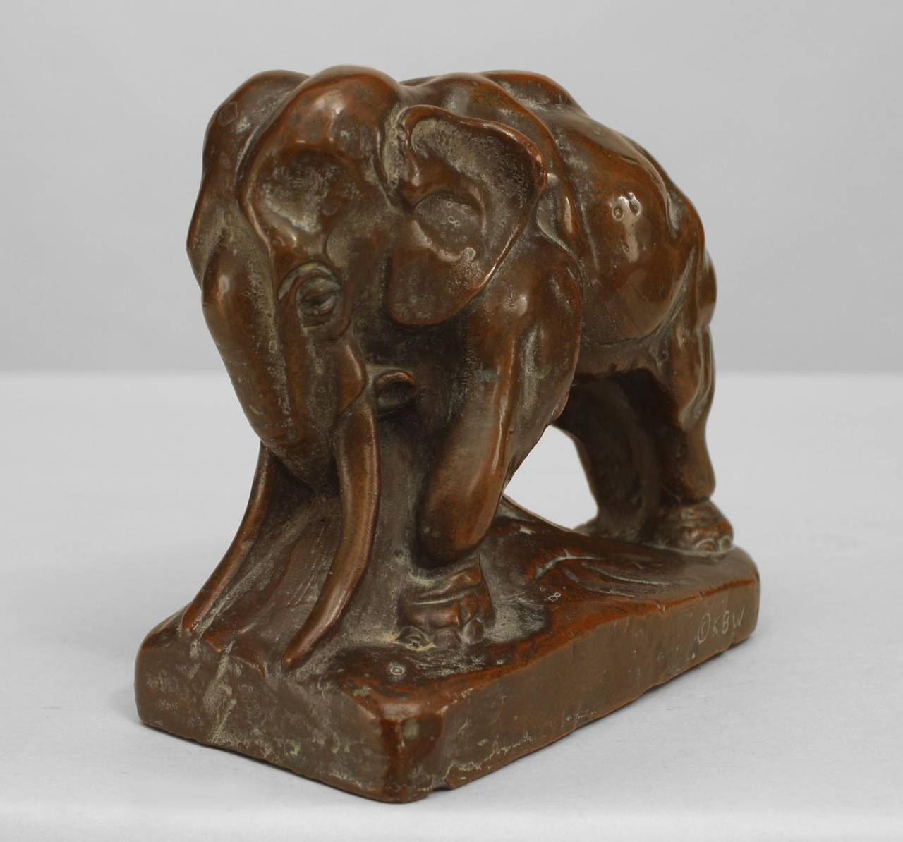 Pair of Continental (possibly Austrian) 20th Cent bronze-patinated copper bookends in the form of elephants.