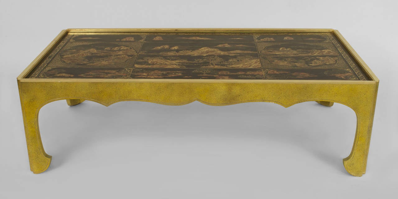 Modern Parcel Gilt Celedon Coffee Table with Inset Chinoiserie Lacquer Top 2