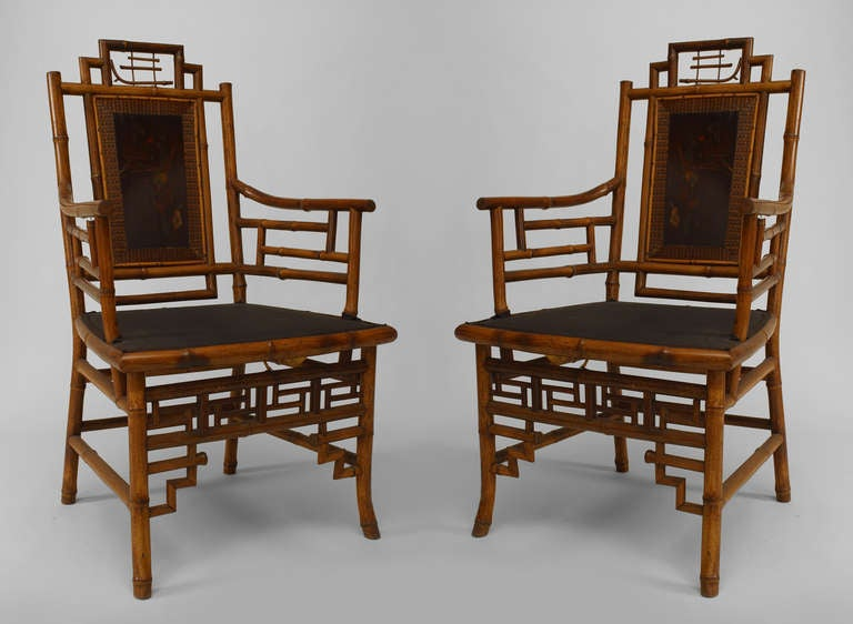 Set of 8 Geometric 19th c. English Bamboo Chairs 2