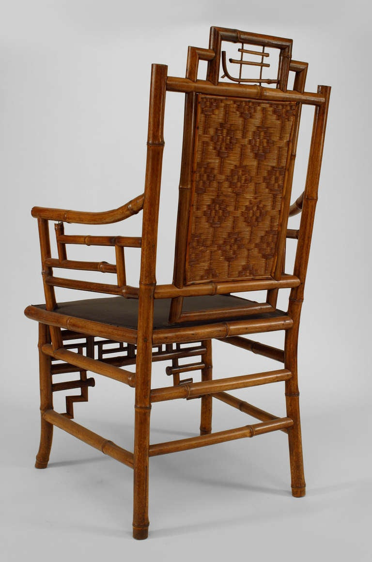 Set of 8 Geometric 19th c. English Bamboo Chairs 6
