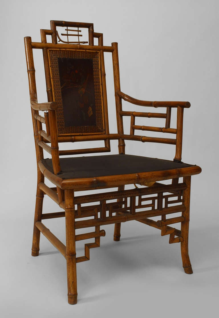 Set of 8 Geometric 19th c. English Bamboo Chairs 3