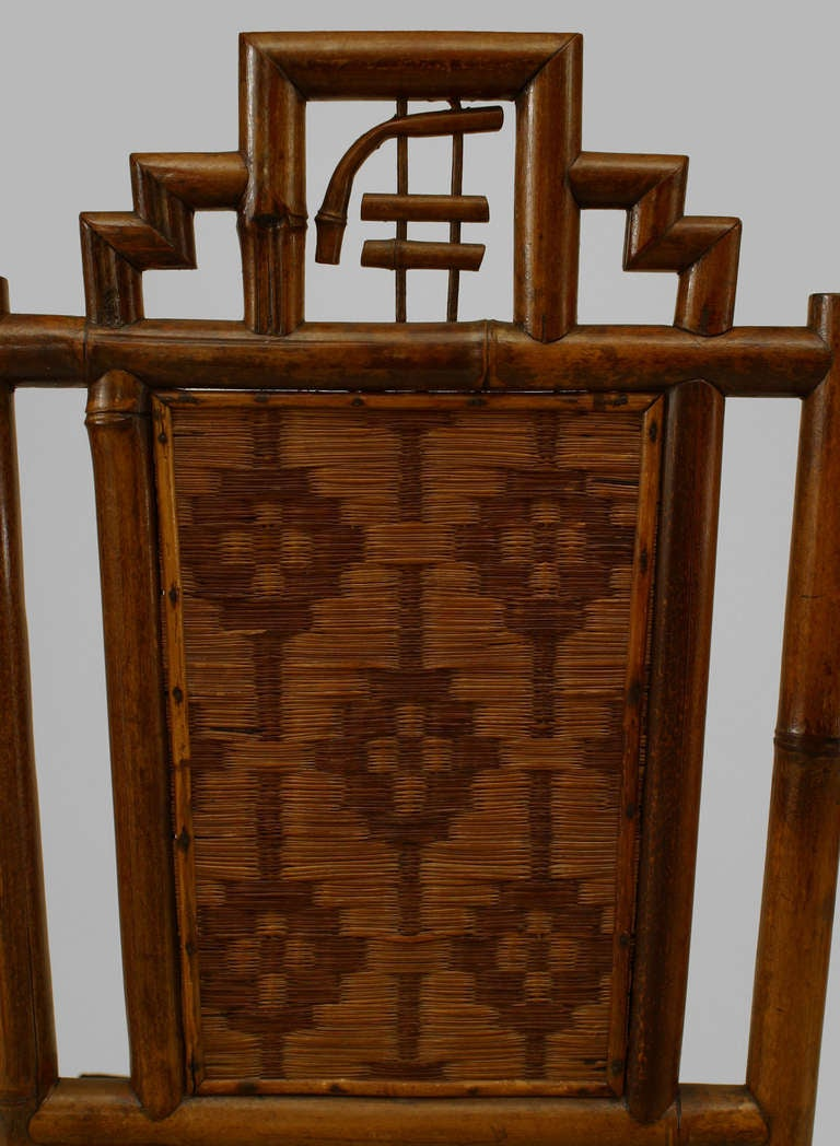 Set of 8 Geometric 19th c. English Bamboo Chairs 9