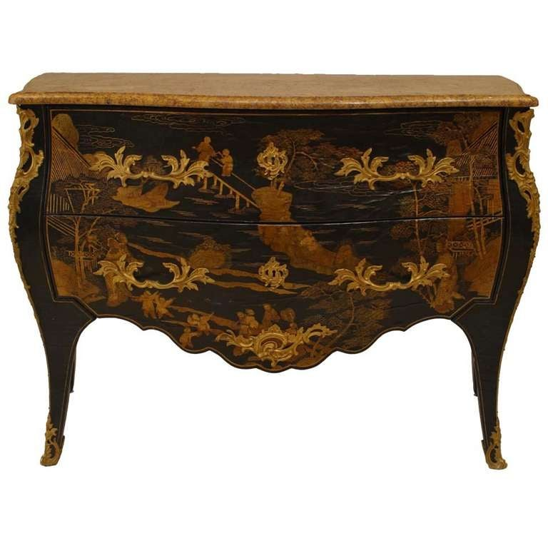 louis xv style chinoiserie bombe commode for sale at 1stdibs. Black Bedroom Furniture Sets. Home Design Ideas
