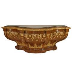 A Monumental 18th c. Italian Rococo Walnut and Parcel Gilt Console Table