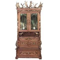 Impressive 19th c. German Horn Trimmed Oak Cabinet