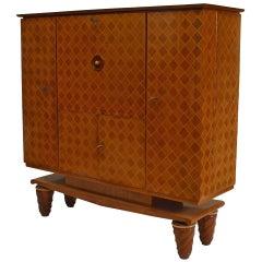 French Walnut & Satinwood Bar Cabinet