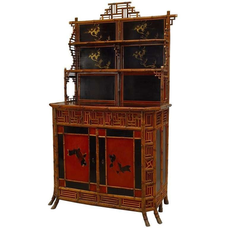 19th c. English Regency Bamboo Etagere Cabinet