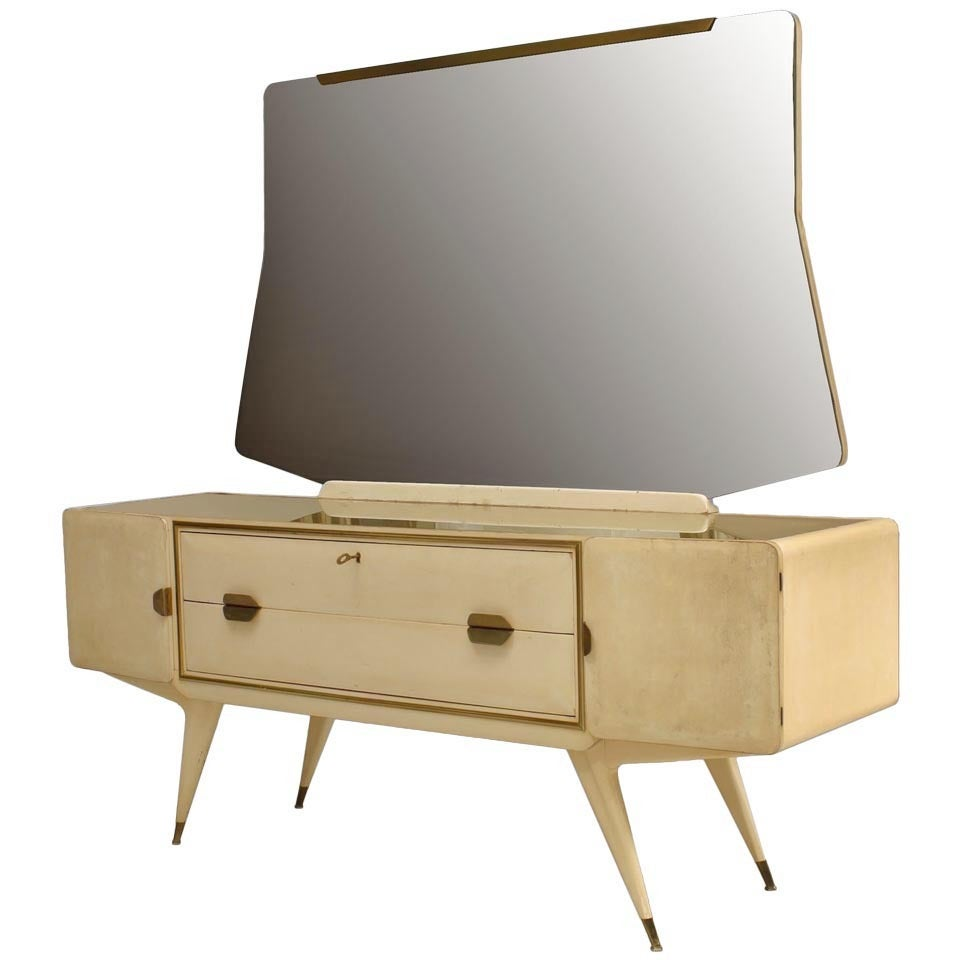 1950's Lacquered Italian Dresser With Vanity Attributed To Gio Ponti