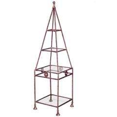 Gilt Metal And Glass Obelisk-Shaped Etagere