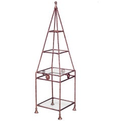 Gilt Metal And Glass Obelisk-Shaped Etagere