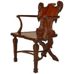 Early George III Carved Mahogany Hall Chair Circa 1765
