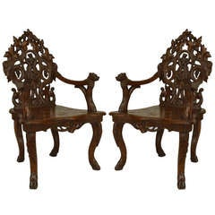 Pair of Superb 19th c. Carved Walnut Black Forest Armchairs