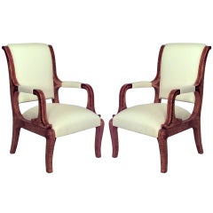 Pair of 19th c. Austrian Upholstered Ash Wood Armchairs