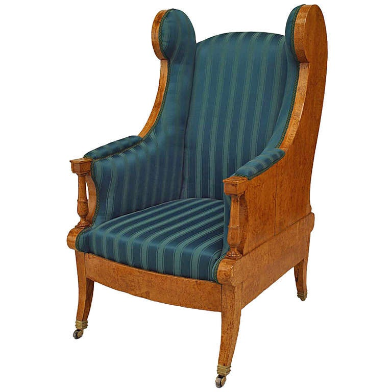 19th C. Russian Winged Armchair Upholstered In Striped