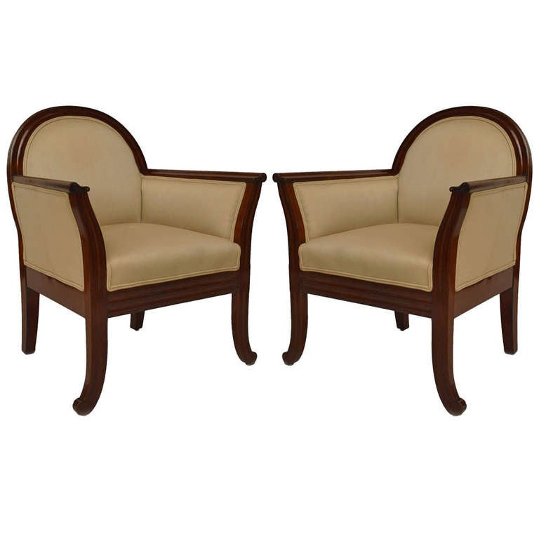 Pair of upholstered mahogany art deco club chairs at 1stdibs - Club deco ...