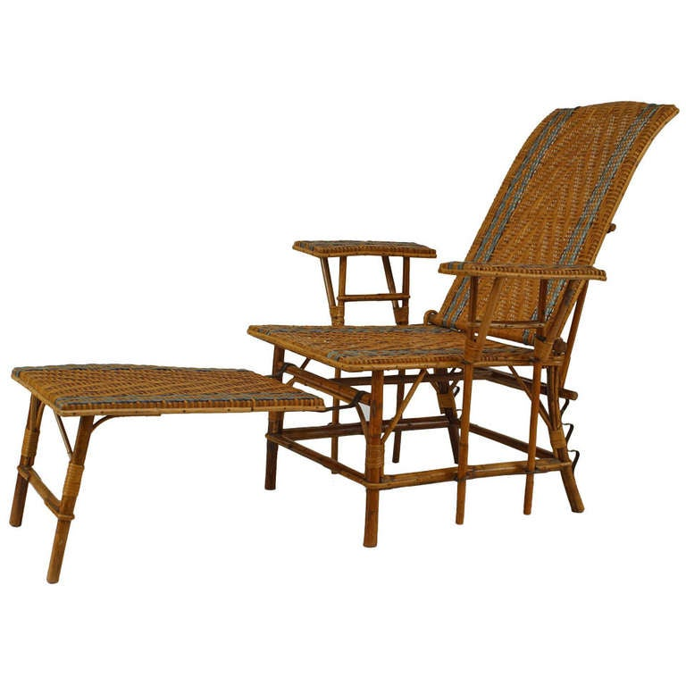 French 1920's  Wicker And Bamboo Chaise with Footrest