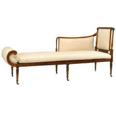 19th c. English Sheraton Upholstered Satinwood Recamier