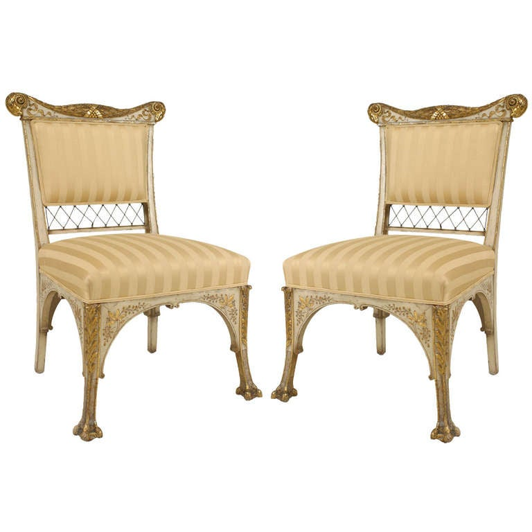 Pair Of Herter Bros. Gilded And Upholstered Side Chairs For Sale